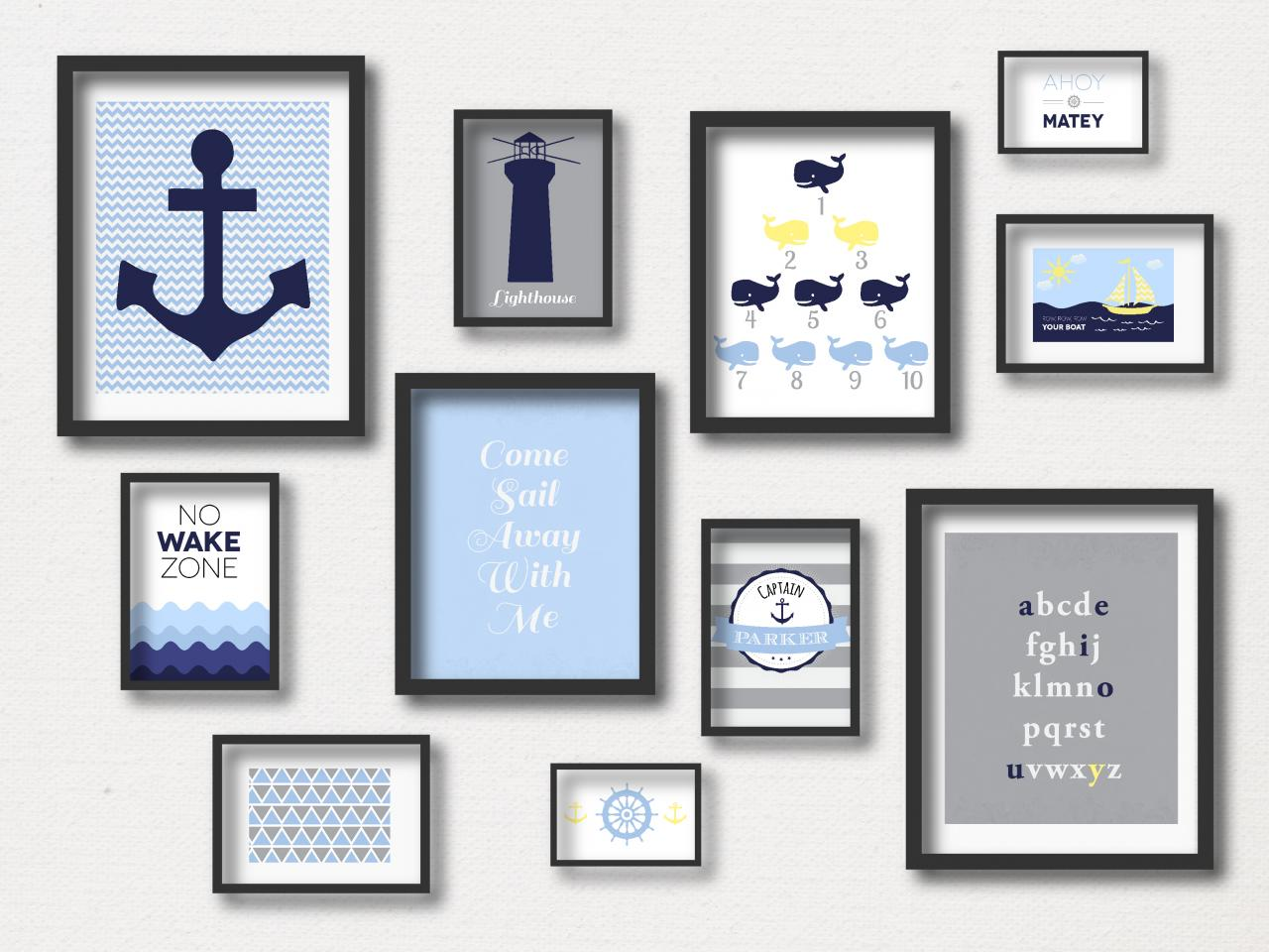 Nursery Prints : Nautical Gallery Wall - Nautical Art Prints - Anchor- Sail Away-Row Your Boat- Ahoy- Whales- Digital