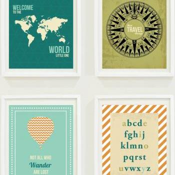 Nursery Prints: Around The World - Travel Nursery - Alphabet - Hot Air Balloon-Compass-Not All Who Wander Are Lost-Home Decor-Gallery Wall - #11301