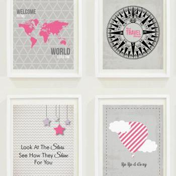 Nursery Prints: Around The World - Travel Nursery - Alphabet - Hot Air Balloon-Compass- Not All Who Wander Are Lost-Home Decor-Gallery Wall - #11101