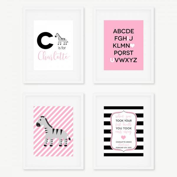 Zebra Nursery Decor, Zebra Art Prints, Safari Nursery, Girls Bedroom Decor, Digital Art Prints, Personalized Baby Prints